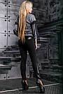 Женские леггинсы из трикотажа-дайвинг, размеры от 44 до 50, со вставками из эко-кожи с вышивкой, фото 8