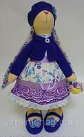 Детская Интерьерная Кукла Тильда  заяц в вязаном берете, фото 1