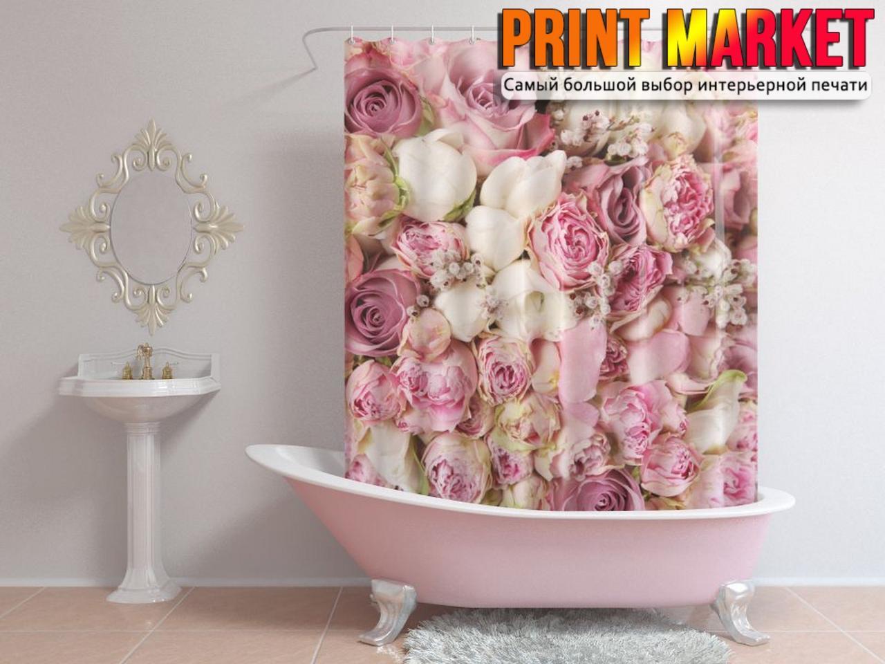 Шторы для ванной розовые розы