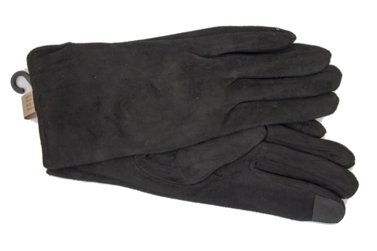 Перчатки замшевые черные Look 215