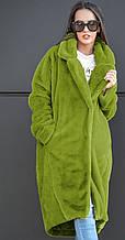 Стильная шуба выполненная с искуственного меха АЛИСА (зеленое яблоко)