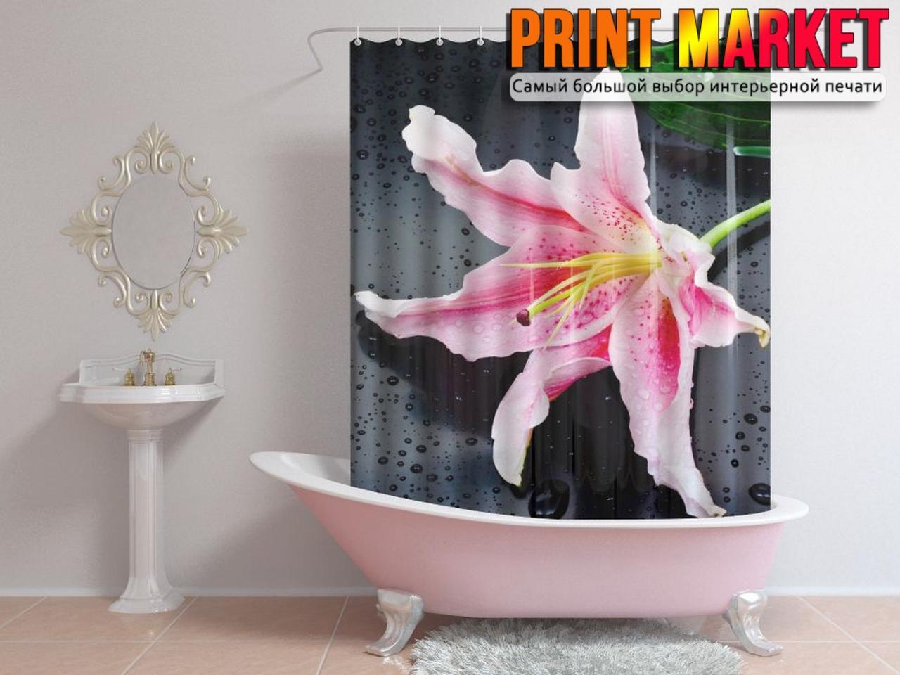 Шторы для ванной мокрый цветок