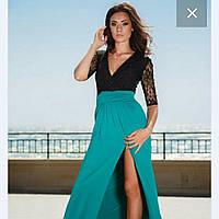 Платье Чили с рукавом 3/4 с кружева и низ расклешенная длинная юбка с разрезом 212 ЛЯ