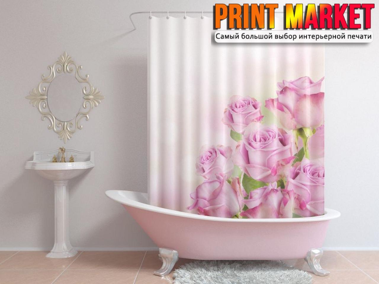 Шторы для ванной розы 3D
