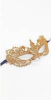 Карнавальная ажурная маска золотая