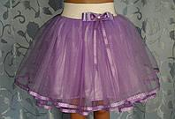 Детская юбка на белой резинке, сиреневая