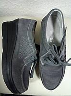 Туфли из натуральной замши на танкетке, 37р.