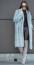 Стильная шуба выполненная с искуственного меха АЛИСА (голубая)