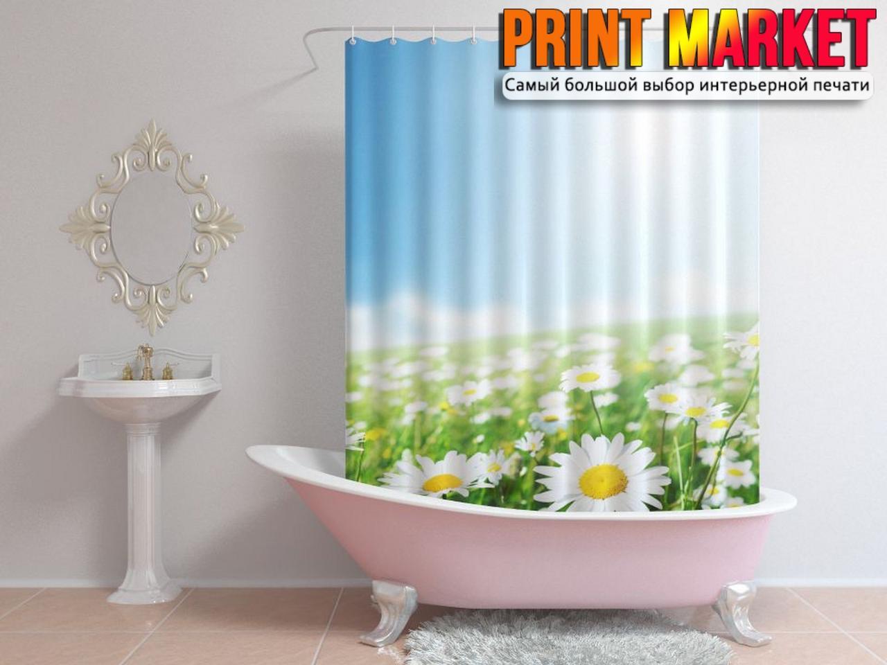 Шторы для ванной ромашковое поле 3д