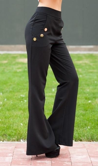 Черные расклешенные брюки с пуговицами