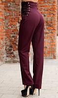Деловые бордовые брюки на шнуровке