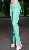 Летние офисные брюки ментолового цвета