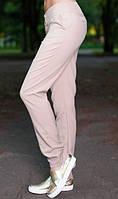Летние офисные брюки бежевого цвета
