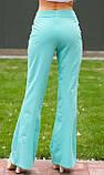 Ментоловые расклешенные брюки с пуговицами, фото 2