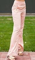 Персиковые расклешенные брюки с пуговицами