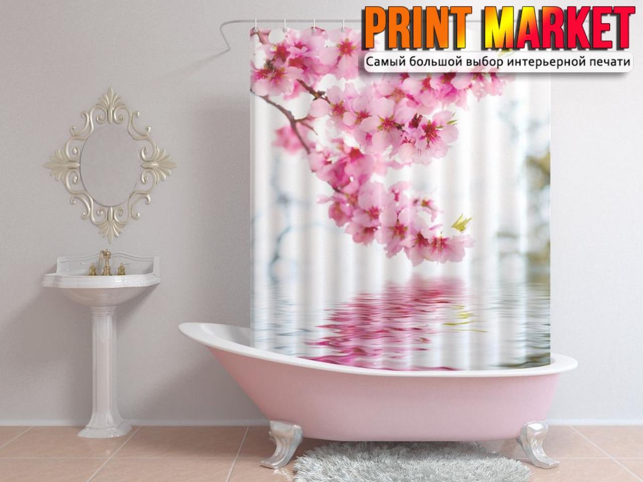 Шторы для ванной цветущая ветка