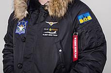Мужская зимняя парка Olymp Black черная с нашивками, фото 3
