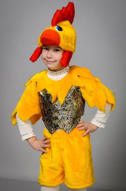 Детский карнавальный костюм Петушок парча золото