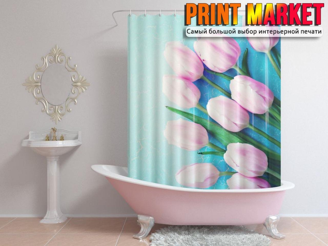 Шторы для ванной нежные тюльпаны