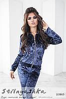 Стильный костюм из мраморного велюра темно-синий