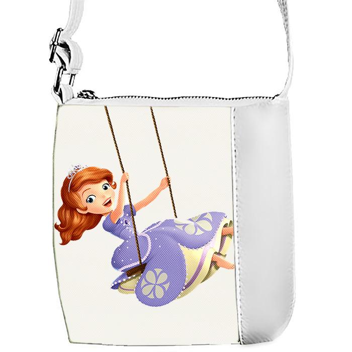 Белая сумка для девочки с принтом Принцесса София