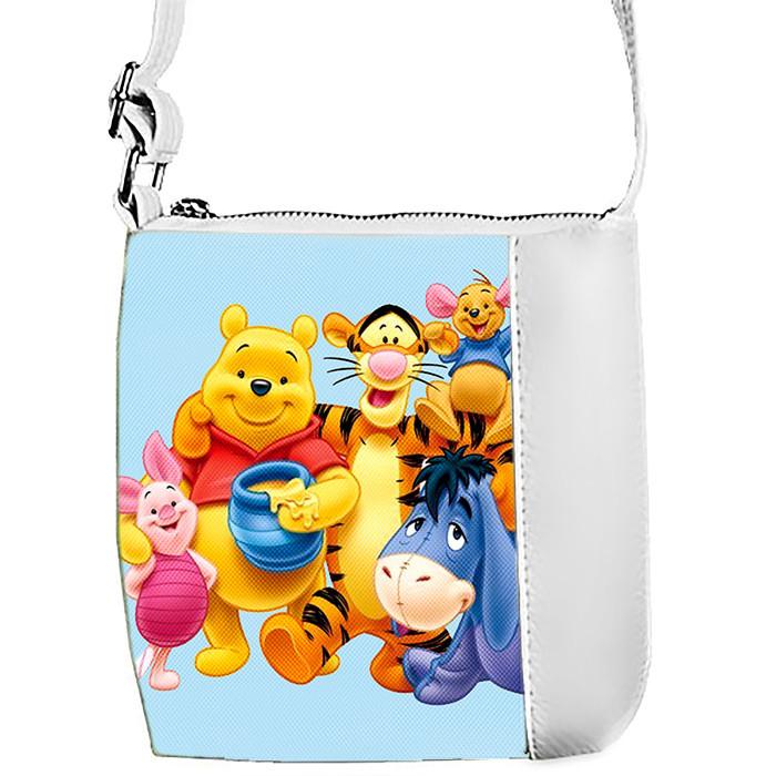 Белая сумка для девочки с принтом Вини пух и друзья