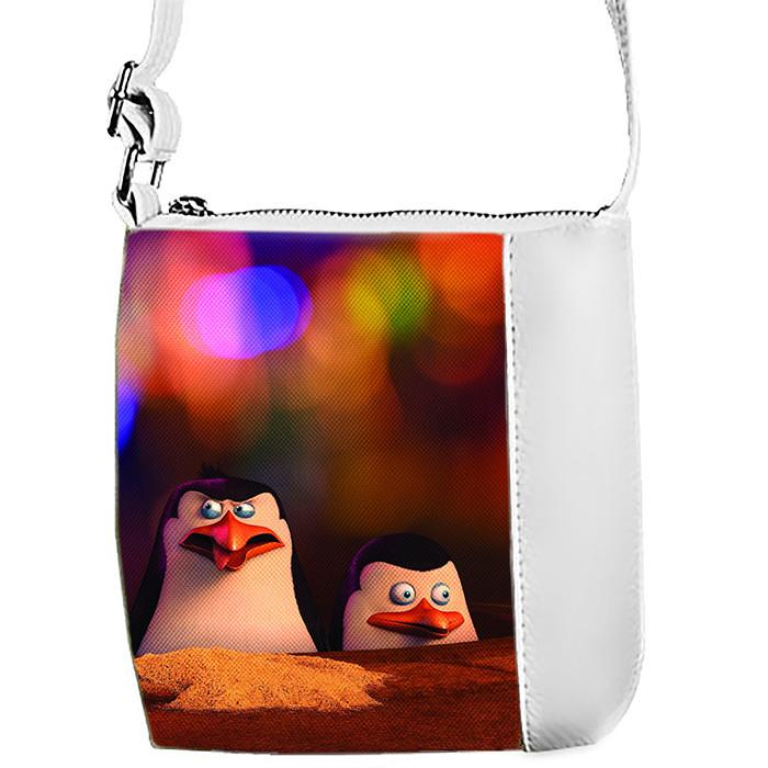 Белая сумка для девочки с принтом Пингвины 1