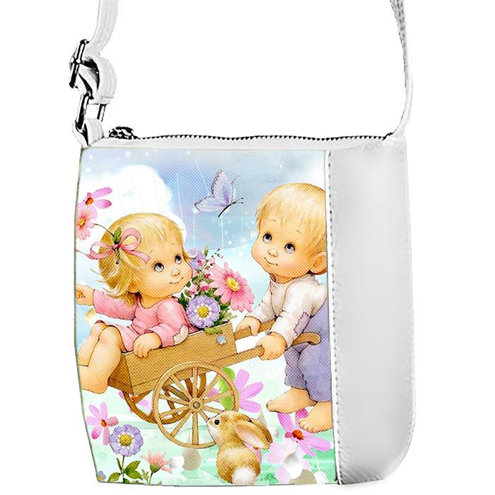 Белая сумка для девочки с принтом Ангелы