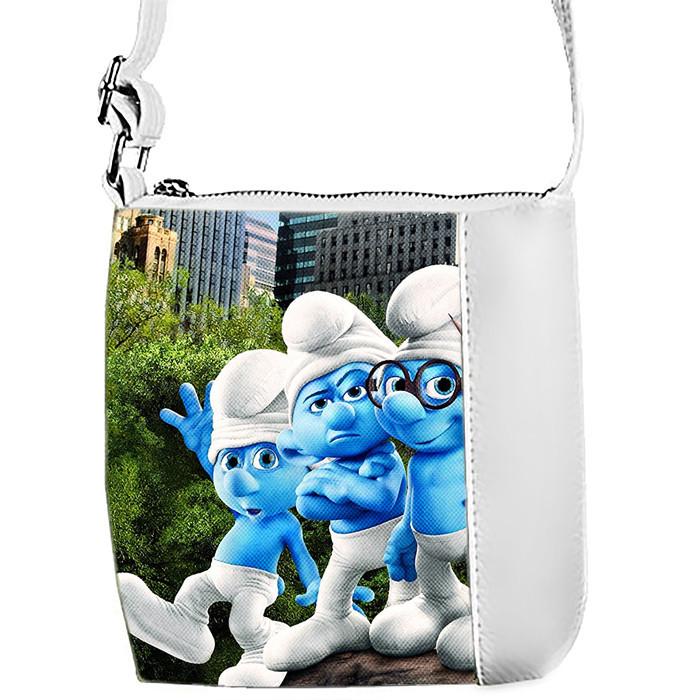 Белая сумка для девочки с принтом Смурфики