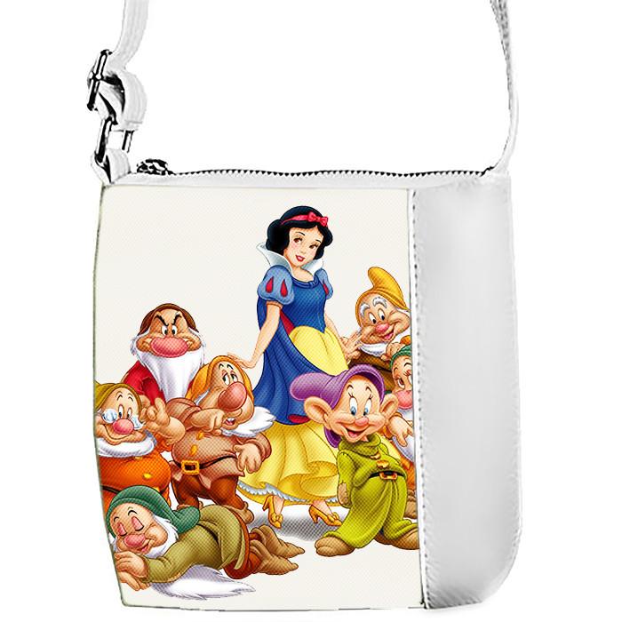 Белая сумка для девочки с принтом Белоснежка
