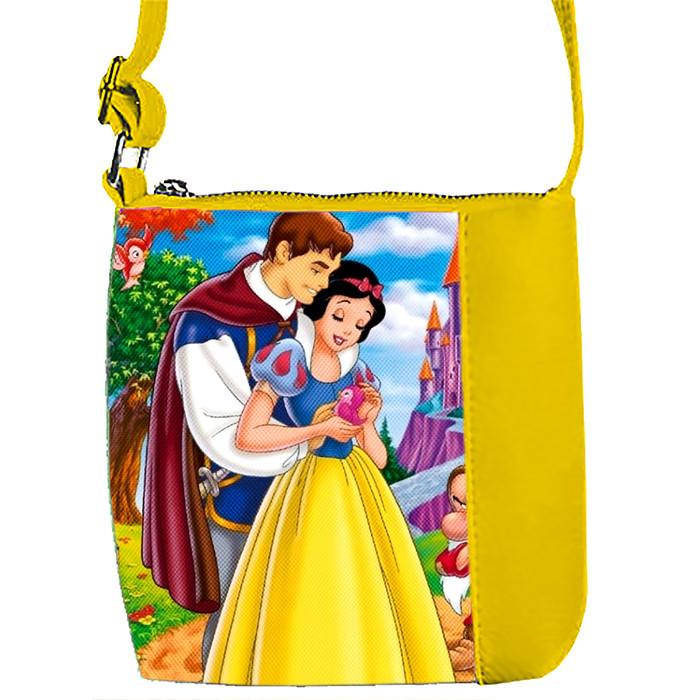 Желтая сумка для девочки с принтом Белоснежка