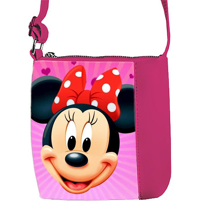 Розовая сумка для девочки с принтом Минни Маус