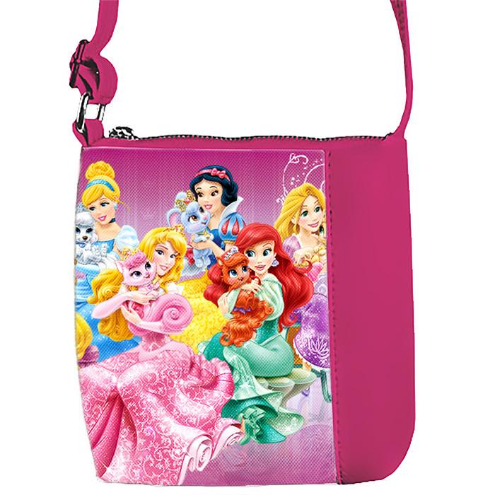 Розовая сумка для девочки с принтом Диснеевские принцессы