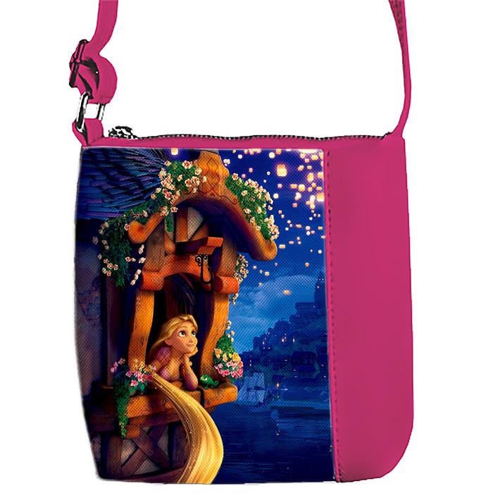 Розовая сумка для девочки с принтом Рапунсель
