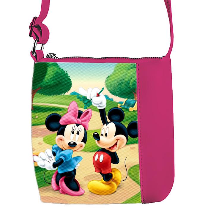 Розовая сумка для девочки с принтом Мики и Минни