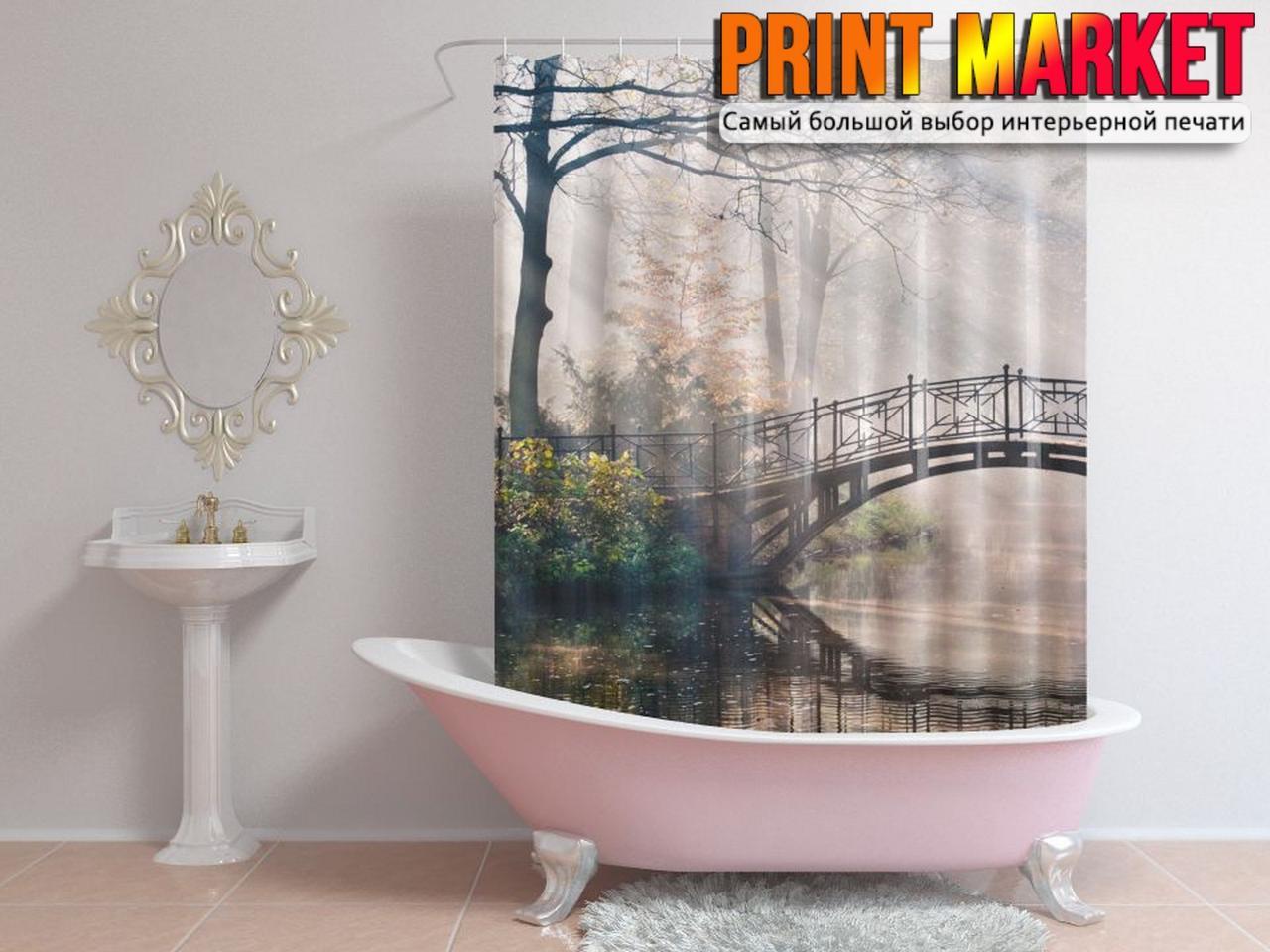 Шторы для ванной мост в тумане