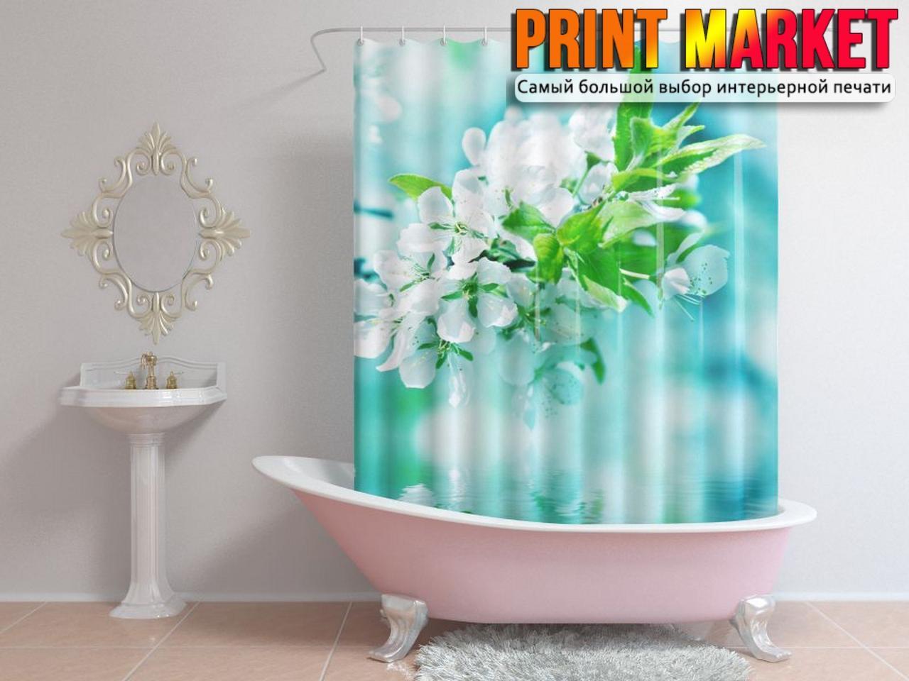 Шторы для ванной белый цветок над водой