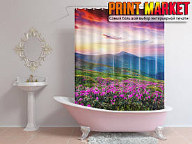 Шторы для ванной горы и цветы