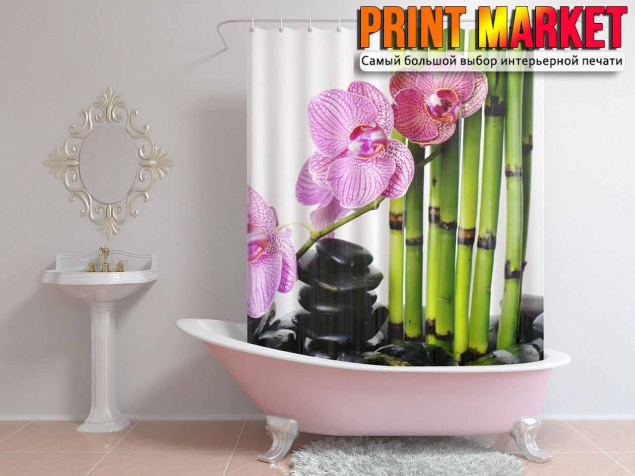 Шторы для ванной цветок и бамбук