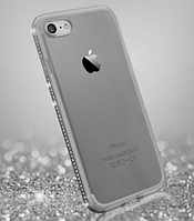 Силиконовый серый чехол с камнями Сваровски для Iphone 5 5S