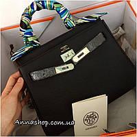 Женская кожаная сумка Гермес Келли 28 см в черном цвете, Люкс копия