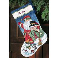 """Набор для вышивания крестом """"Санта и снеговик//Santa & Snowman Stocking"""" DIMENSIONS"""