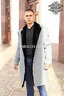 Стильное пальто  мужское с натуральным мехом бобра, 100см