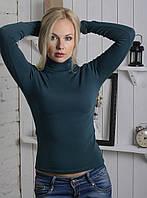 Женская водолазка из полушерсти сине-зеленого цвета 40-52р, женские водолазки норма оптом от производителя
