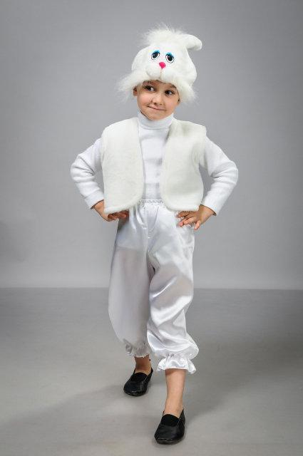 Детский карнавальный костюм Зайчик атлас белый (30-36)