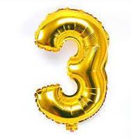 "Шар цифра ""3"" золото (1 метр) флекс металл Фольга"