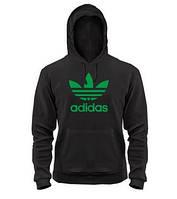 Толстовка черная адидас, зеленый логотип, 4712