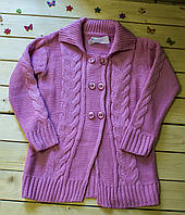 Красивая вязаная кофта для девочки на 6-9 лет