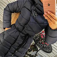 Куртка женская плащевка с капюшоном и брошью