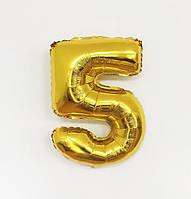 "Шар цифра ""5"" золото (1 метр) флекс металл Фольга"